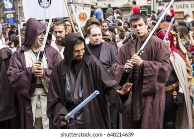SANTIAGO DE COMPOSTELA, SPAIN - May 27, 2017: People disguised in Star Wars costumes for the III Imperial Stormtroopers parade 2017 in the Old City of Santiago de Compostela, Spain.