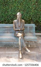 Santiago de Compostela, Spain; November 24 2018: Statue of Ramon Maria del Valle Inclan in Alameda park. He was a Spanish dramatist and novelist.