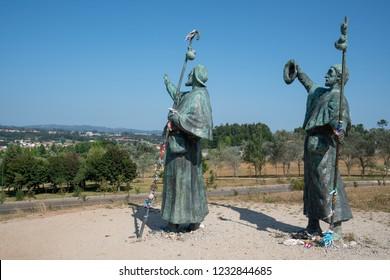 SANTIAGO DE COMPOSTELA, SPAIN - SEPTEMBER 1, 2018: Pilgrim memorial on the Camino de Santiago trail on September 1, 2018 in Galicia, Spain