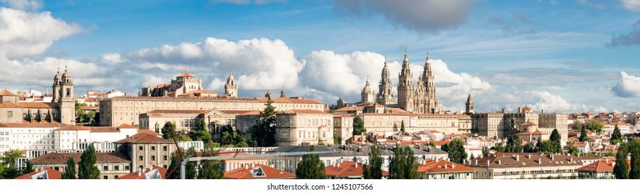 Santiago de Compostela wide panoramic view High resolution. Way of St. James. Pilgrimage. UNESCO World Heritage Site
