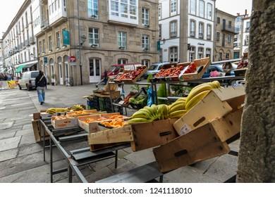 Santiago de Compostela/Galicia - Spain - 11/17/18 - The street of Santiago at the end of the famous camino de Santiago