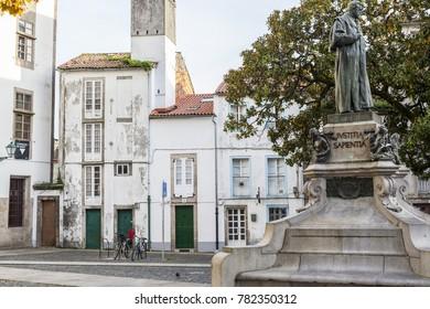 SANTIAGO DE COMPOSTELA,SPAIN-NOVEMBER 21,2017:Street view in historic center,square, plaza mazarelos.Santiago de Compostela,Spain.