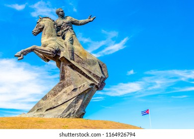 Santiago de Cuba, Cuba- August 6, 2017: Antonio Maceo bronze statue in the Revolution square. The famous place is considered the most outstanding monument executed in the city in the XX century
