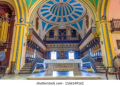 Santiago de Cuba, Cuba- July 10, 2018: Interior details of the Lady of the Assumption Cathedral Basilica. The open doors Catholic building is a major tourist attraction