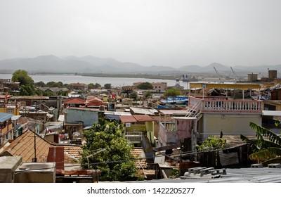 Santiago de Cuba, Cuba - July 12, 2018: View of Santiago de Cuba and its bay from the Balcon de Velazquez