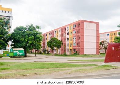 Santiago de Cuba / Cuba - June 15 2014:  Apartment buildings in the Santiago De Cuba.