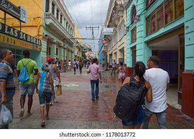 SANTIAGO DE CUBA - SEPTEMBER 4 2018: Buildings and streets of Santiago, the second-largest city of Cuba and the capital city of Santiago de Cuba Province