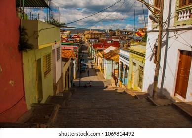 Santiago de Cuba, Cuba: Street-stairs of Padre Pico