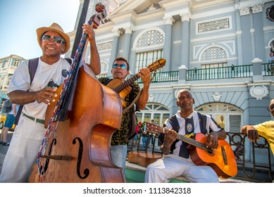 Santiago de Cuba/Cuba - February 2018: A street band playing on instruments in Santiago de Cuba