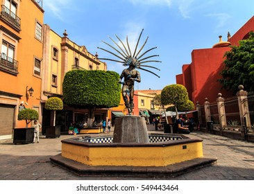 SANTIAGO DE QUERETARO, MEXICO - DECEMBER 16, 2016: Statue of dancing Indian in the city of Queretaro. The statue celebrates the strength and beauty of a native dancer from the period of the Conquest.