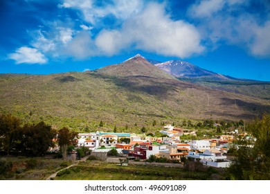 Santiago del Teide town with the volcano on the background, Tenerife, Canary Islands, Spain