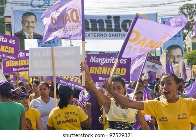 SANTIAGO, DOMINICAN REPUBLIC - MARCH 9: 2012 Elections campaign event on March 9, 2012 at Santiago, Dominican Republic. People supporting the Candidate Danilo Medina for the Country Presidency.