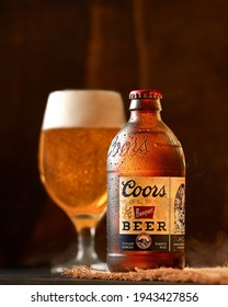 SANTIAGO , DOM.REP. - MARCH 24, 2021 Bottle of Beer Coors Banquet with a glass