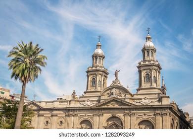 Santiago Metropolitan Cathedral at Plaza de Armas Square -  Santiago, Chile