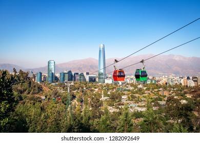 Santiago Metropolitan Park Cable Car and Santiago aerial skyline