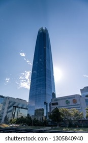 SANTIAGO, METROPOLITAN REGION, CHILE - JANUARY 27, 2019: Bottom view of Costanera Center Skyscraper. Offices building and shopping mall. The highest and modern construction of Santiago.