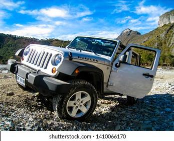 Santiago, Nuevo Leon, Mexico. December 30, 2010.  Jeep rubicon in action in a rocky road.