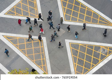 Santiago, R. Metropolitana, Chile - May 22, 2017: On the booming Nueva Las Condes was inaugurated for first time in the city, a diagonal crossing to facilitate the transit of pedestrians at rush hour.