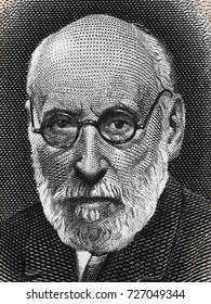 Santiago Ramon y Cajal portrait on Spain 50 pesetas banknote (1935) closeup, Spanish pathologist, pioneer of modern neuroscience, Nobel Prize winner.