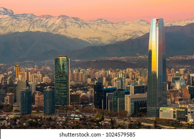 Santiago, Region Metropolitana, Chile - June 01, 2013: Skyline of modern buildings at financial district with The Andes mountain range in the back.