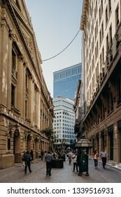 Santiago, Region Metropolitana / Chile - March 14 2019: Street shot at Santiago de Chile