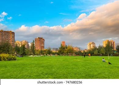 Santiago, Region Metropolitana, Chile - May 13, 2017: View of Parque Juan Pablo II, the extension of Parque Araucano, forming the mayor urban public park in Las Condes district.