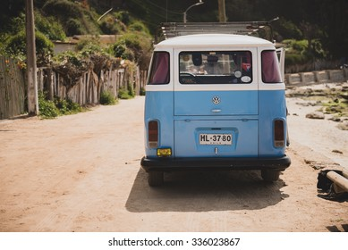 SANTIAGO, REGION METROPOLITANA / CHILE - NOVEMBER 05 2015 - Classic Volkswagen Kombi parked at the beach in Horcon, Chile