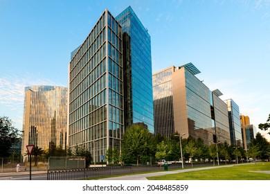Santiago, Region Metropolitana, Chile - Nueva Las Condes, the new financial district in Santiago, home of top high end corporate buildings at Alonso de Cordova street.