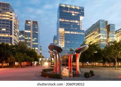 Santiago, Region Metropolitana, Chile - Nueva Las Condes, the new financial district in Santiago, home top high end corporate buildings in front of Araucano Park