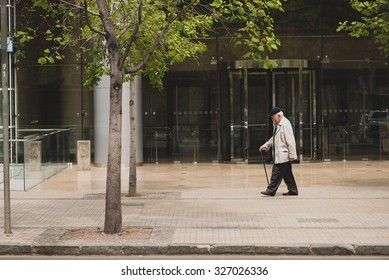 SANTIAGO, REGION METROPOLITANA / CHILE - OCTOBER 12 2015 - Unidentified old man walking in the city