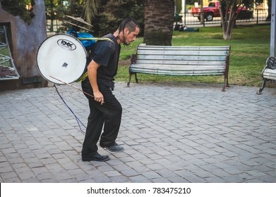 Santiago, RM / Chile - December 28 2017: Street musician at Santiago de Chile