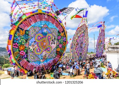 Santiago Sacatepequez, Guatemala - November 1, 2017: Giant kite festival honoring spirits of the dead in town cemetery each year on All Saints Day.