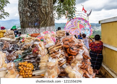 Santiago Sacatepequez, Guatemala - November 1, 2017: Sweet stall at Giant kite festival honoring spirits of the dead in town cemetery each year on All Saints Day.