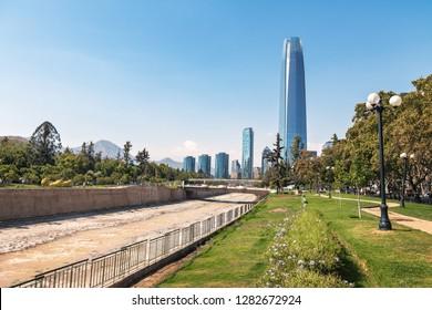 Santiago Skyline and Mapocho River - Santiago, Chile