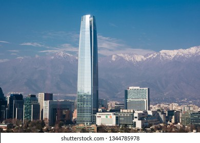 Santiago/Chile - July 29 2018: Sky Costanera skycrapper and the snowcapped Andes.