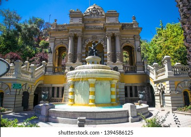 Santiego, Chile - Dec 28, 2018: Monumental Fountain of Neptune in Cerro de Santa Lucia, in the downtown of Santiago de Chile, next to the Alameda, the main avenue of the city. Chile.