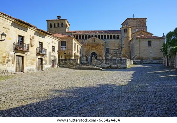 The Santillana del Mar Collegiate Church (Colegiata y Claustro Santa Juliana) in Santillana del Mar, Cantabria, Spain