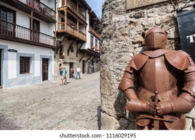 SANTILLANA DEL MAR, SPAIN-SEPTEMBER 24,2015: Medieval armor and ancient street in Santillana del Mar.