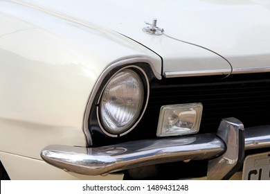 Santo André/SP/Brazil - 07-29-2018 - Old white Ford Maverick at a car show in the city of Santo André-SP. Car front closeup.