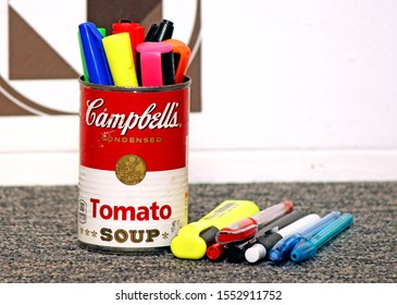 Santo André/SP/Brazil - 10-31-2019 - Campbells soup can, symbol immortalized by artist Andy Warhol, being used as a crayon holder. A packaging used as a decoration object. Another use of the soup can.