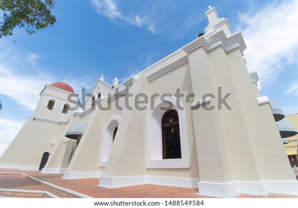 SANTO CERRO, LA VEGA/DOMINICAN REPUBLIC - JUNE 24, 2019: Side view of Las Mercedes catholic church located in Santo Cerro. This is the historic place where Christopher Columbus planted the first cross