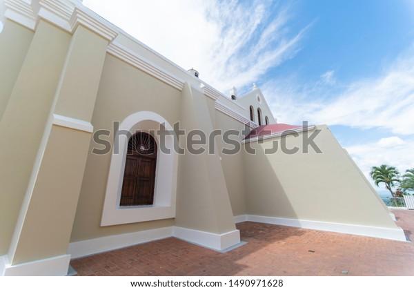 SANTO CERRO, LA VEGA/DOMINICAN REPUBLIC - JUNE 24, 2019: Lateral view of Las Mercedes catholic church located in Santo Cerro, La Vega, where the first battle between Spaniards and Indians took place.