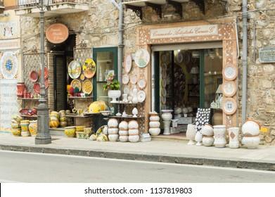 Santo di stefano,Sicile,Europe-09/06/2018.Ceramic shop front of the artist G.Caruso in the city of Santo di Stefano in the north of Sicily.