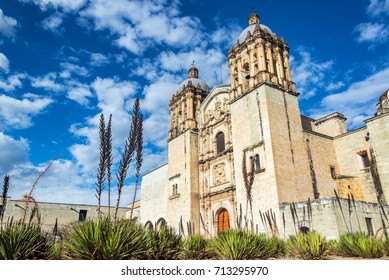 Santo Domingo church in Oaxaca, Mexico with a beautiful blue sky
