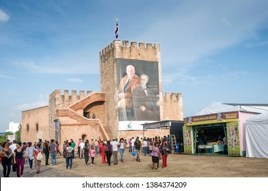 Santo Domingo - Dominican Republic, April 28 2019: Historic Ozama Fortress during the public anual Book Fair, Held for the 1st time in the historical Colonial Zone.