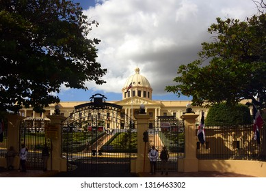 Santo Domingo, Dominican Republic - February 7, 2019:  The National Palace which houses the offices of the Executive Branch (President and Vice President) of the Dominican Republic.