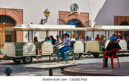 Santo Domingo, Dominican Republic - January 24, 2016,: Chu Chu Colonial Station, located in Columbus Park. Chu Chu Colonial is a train that present in 45 min. the Colonial City of Santo Domingo.