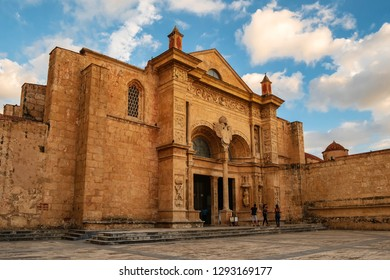 SANTO DOMINGO - DOMINICAN REPUBLIC - January 19, 2019 : Cathedral Primada de America Church located in street of old town called zona colonial.