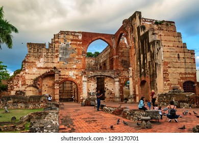 SANTO DOMINGO - DOMINICAN REPUBLIC - January 19, 2019 : Ruins of hospital San Nicolas de Bari at Santo Domingo, Dominican Republic.