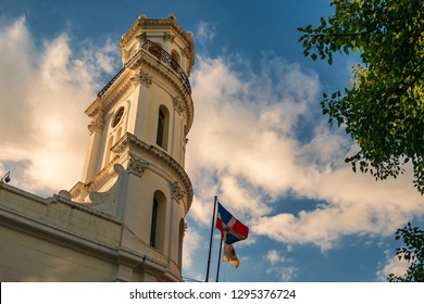 SANTO DOMINGO - DOMINICAN REPUBLIC - January 19, 2019 : Architectural detail of famous landmark Consistorial palace and museum of the city of Santo Domingo Dominican Republic.